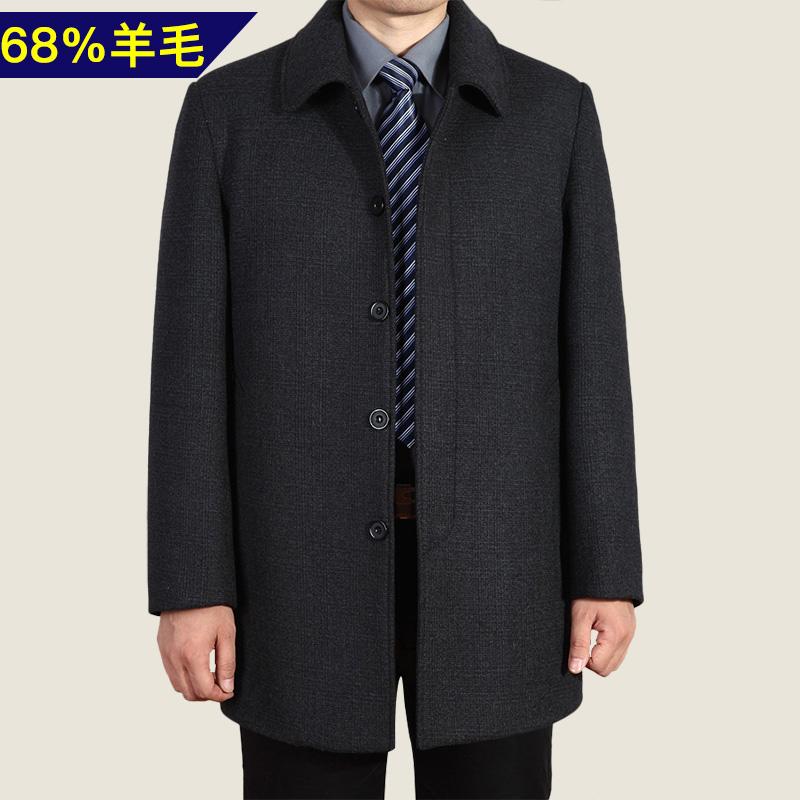 父の春の服装のオーバーの男性のコートは春と秋にゆったりしています。
