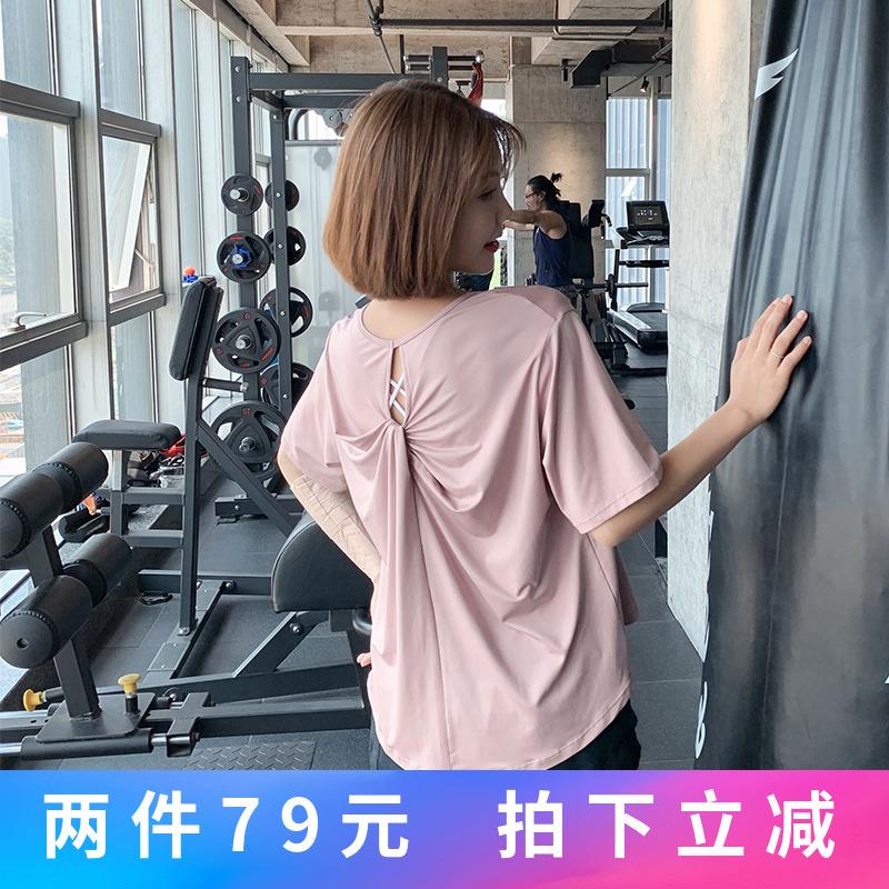 券后69.00元QTS运动上衣女宽松韩版健身速干T恤网红短袖跑步瑜伽服夏薄款