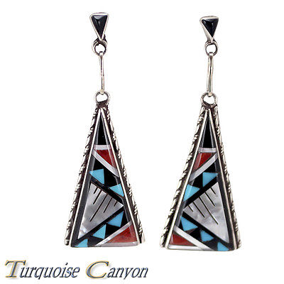 American buy turquoise jewelry inlay triangle Coral Earrings