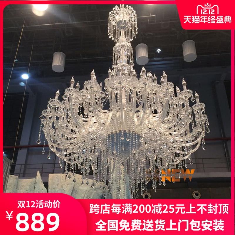 European style chandelier, living room lamp, stair lamp, long chandelier, luxury hotel villa, hollow duplex building, crystal chandelier