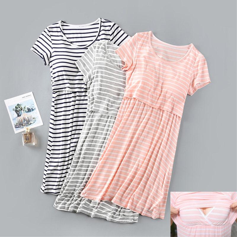 孕妇睡裙怀孕期外穿短袖哺乳衣产后月子服喂奶衣薄款莫代尔睡衣夏
