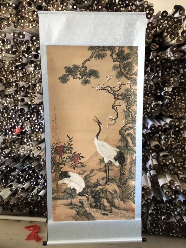 中堂松鶴延年仙鶴松樹仿古國畫祝壽送老人玄關書房客廳裝飾畫字畫