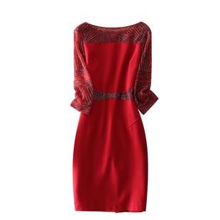 端莊大氣重工釘珠網紗刺繡修身婚宴媽媽裝包臀裙女正式場合連衣裙