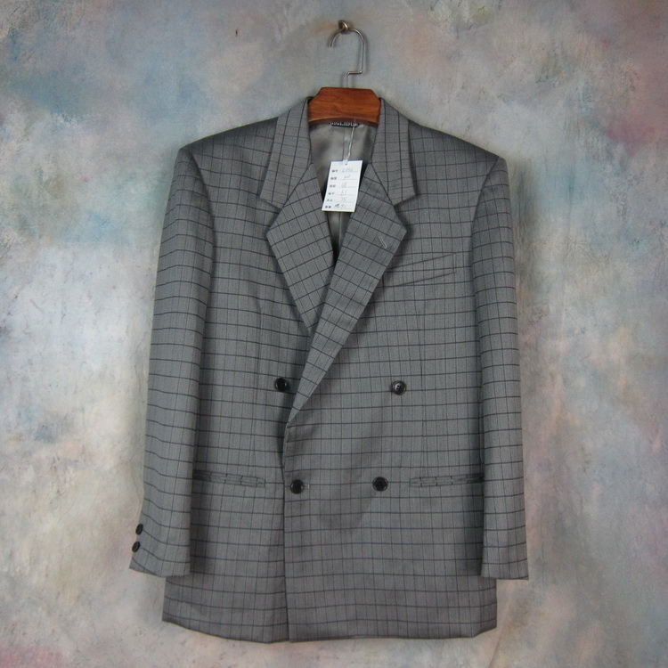 Japanese Biglide pure wool one grain double breasted gentleman suit dark grey British Plaid slim fit small e656