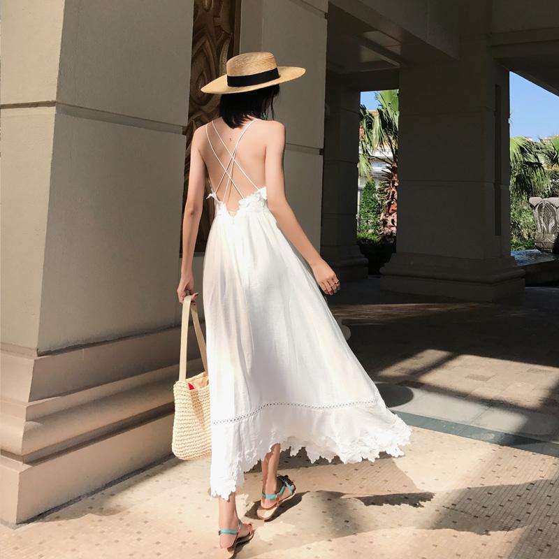 三亚沙滩裙女海边度假长裙夏白色性感露背裙子显瘦海滩连衣裙超仙