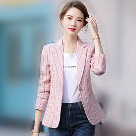 2020春秋新款韩版格子小西装外套女英伦风复古小香风粉色呢子西服