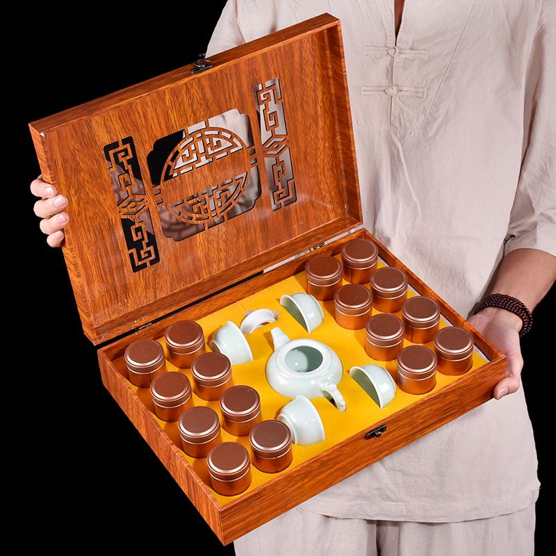过节送礼大红袍高档送茶具
