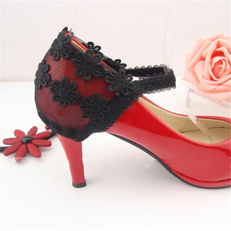 Sexy fashion black lace flower heel cover cant fall off high heel leather shoes shoelace shoelace anti drop shoes accessories