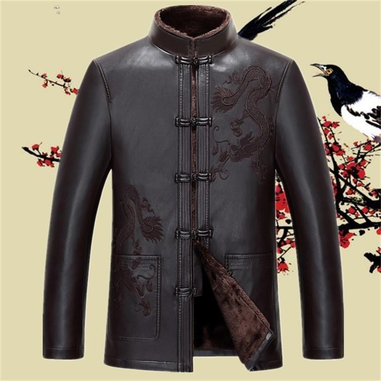 中老年唐装男青年中国风真皮皮衣热销33件手慢无