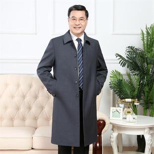 中年男士过膝风衣免烫外套中老年男中长款大码春秋宽松大衣爸爸装
