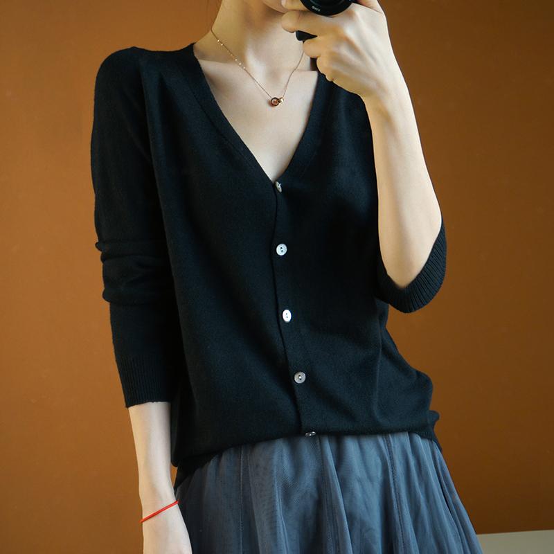 春夏新款纯色毛衣开衫女短款V领薄款针织羊毛打底衫百搭小外套
