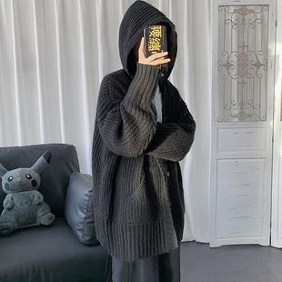 ins痞帥帶帽寬鬆加厚毛衣男開衫針織衫外穿秋冬季連帽黑色羊絨衫
