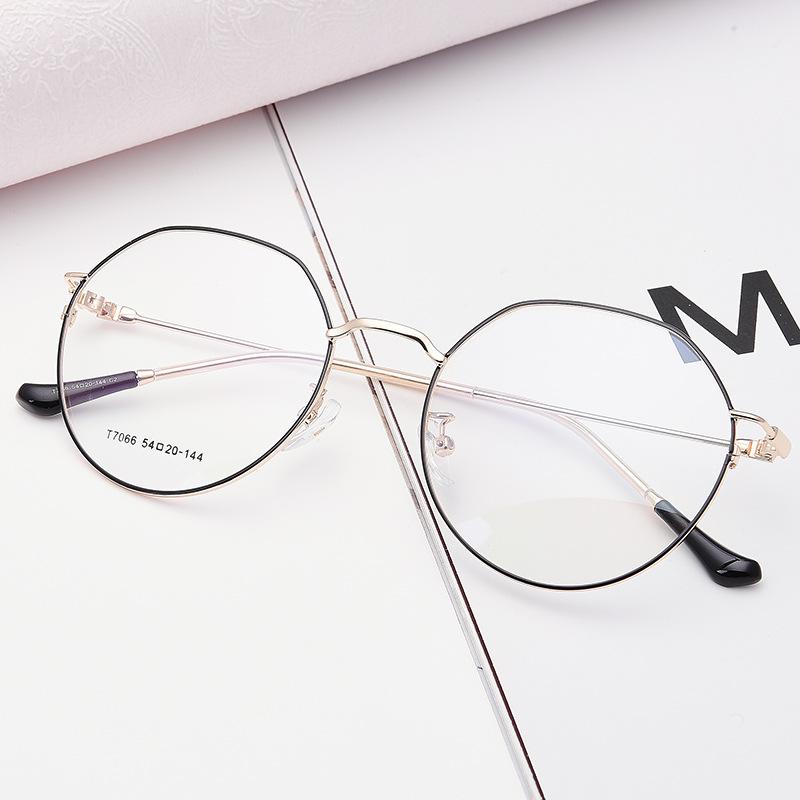 复古近视眼镜框女款文艺不规则圆框金属眼镜架可配近视镜老花镜片