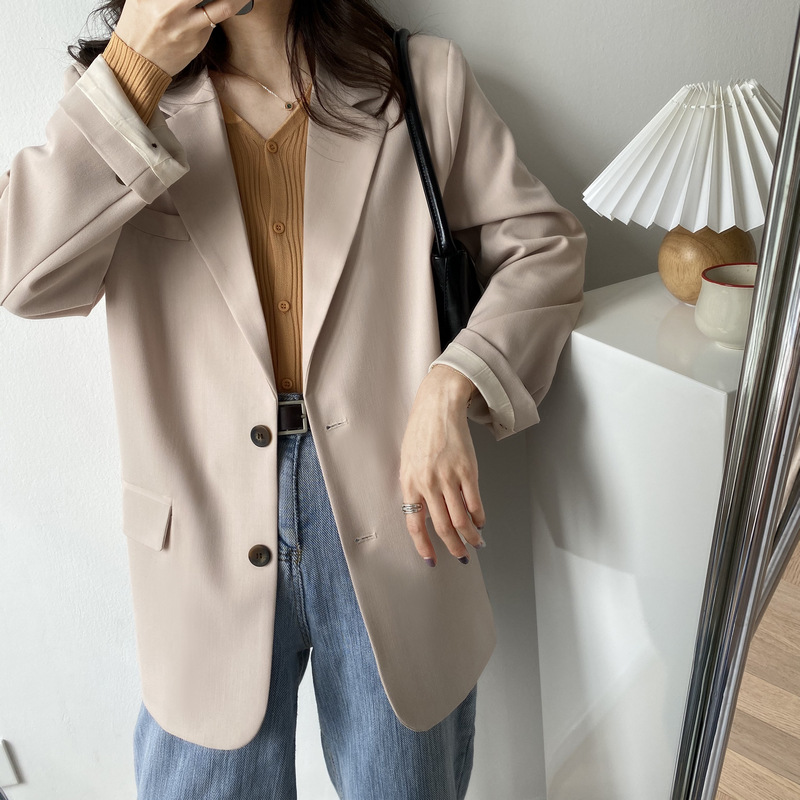 Spring and autumn 2020 Korean new fashion ins solid color fashion loose casual net red single breasted suit jacket for women