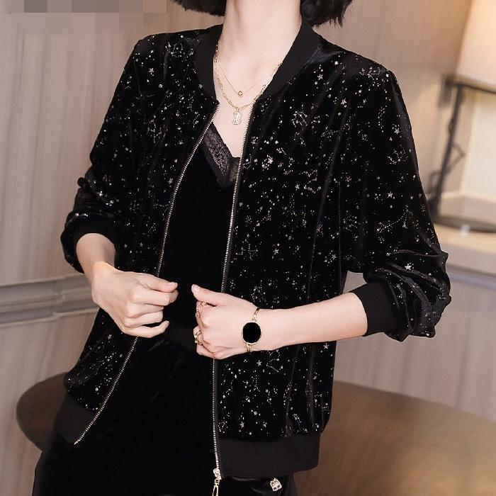 黑色金丝绒外套女装秋季2020新款休闲百搭印花上衣宽松长袖棒球服