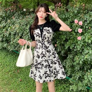 RS19694#大码女装夏季新款小清新碎花拼色设计感收腰显瘦减龄连衣裙