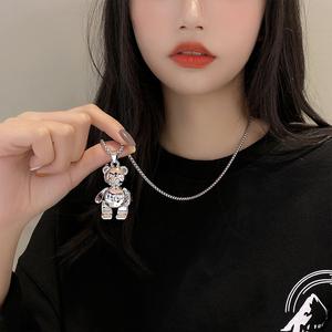 日韩小众设计感泰迪熊毛衣项链女新款潮流百搭可爱毛衣配饰卫衣链