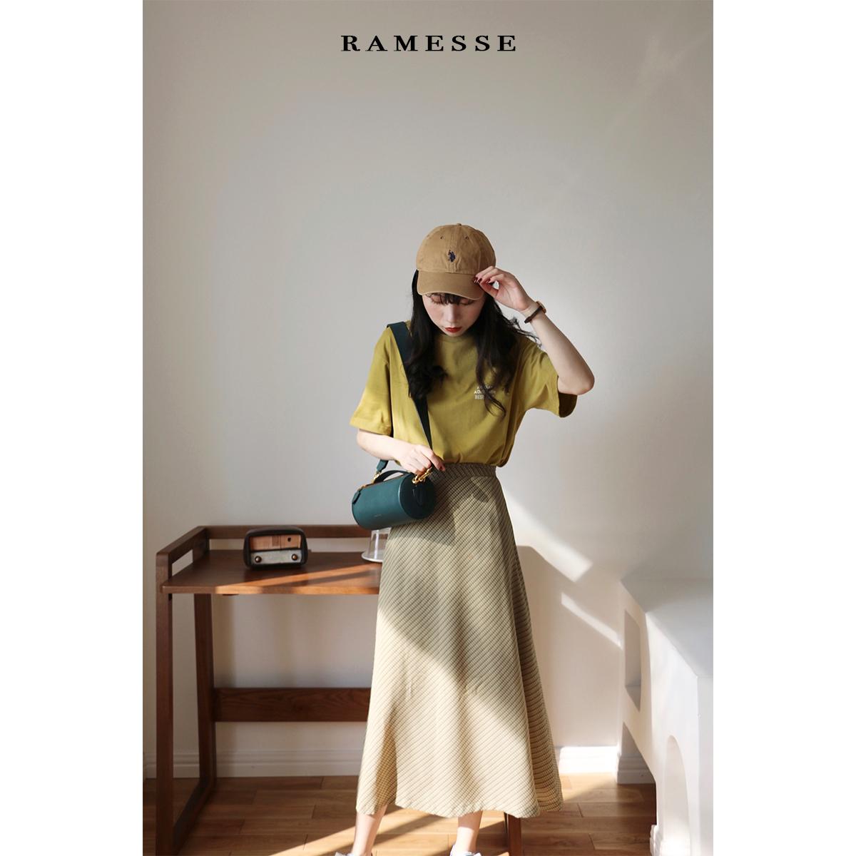 Ramesse | 春日小清新 格子雪纺伞裙a字中长裙半身裙限7000张券