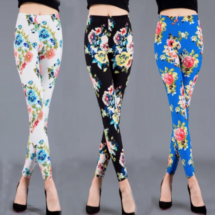 Spring and autumn soft milk silk frosted elastic high waist Peony Flower Printed Leggings womens PANTS LEGGINGS slim fit