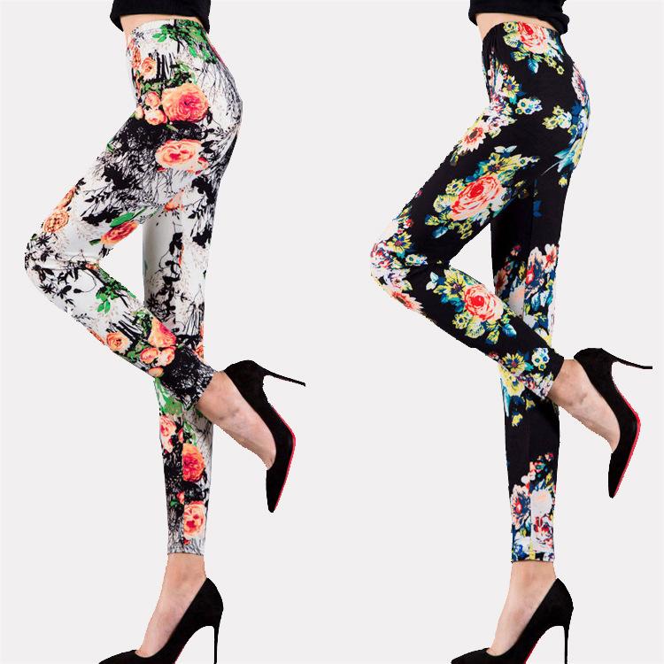 Womens milk silk ground thin high waist large elastic printed Leggings womens Capris