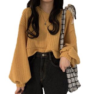 洋氣寬鬆短款V領T恤上衣女秋季2020新款百搭顯瘦長袖套頭上衣女潮