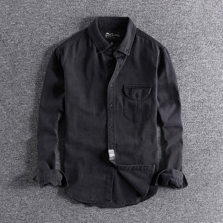 秋季英伦复古水洗做旧厚实质感纯棉修身欧美男士长袖衬衫外套