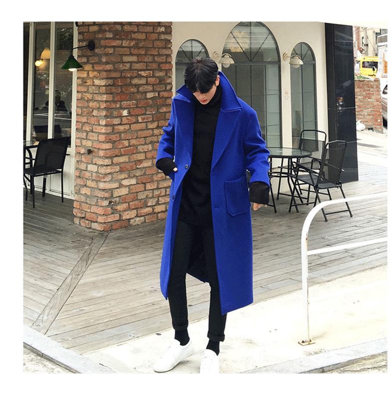 Winter wool coat mens loose blue double faced cashmere coat mens long windbreaker woollen coat mens wear