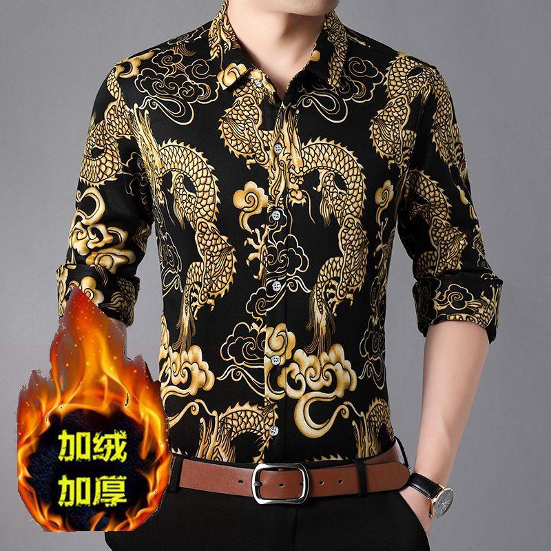 Autumn winter Plush thickened shirt mens wear with dragon pattern flower tattoo warm shirt Lapel large cardigan