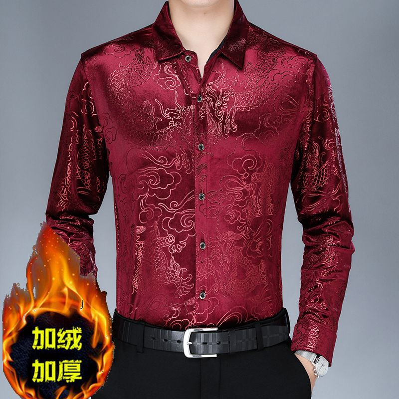 Velvet long sleeve Plush thick shirt mens middle-aged dads warm shirt Dragon Tattoo