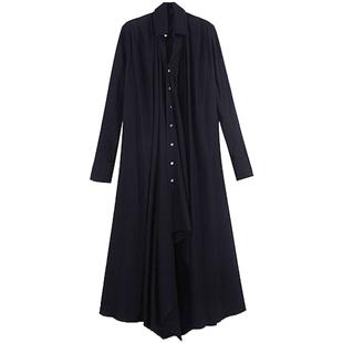 暗黑山本設計綁帶長款不規則黑色連衣裙女 收腰長袖襯衫式長裙子