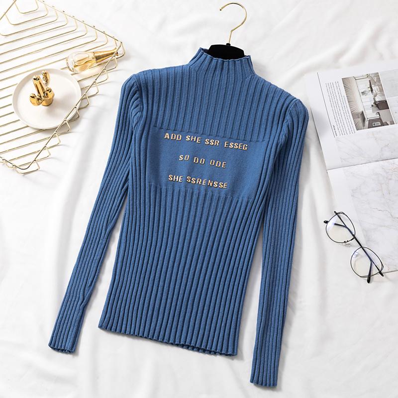 實價~韓版修身顯瘦套頭上衣女半高領毛衣長袖字母針織打底衫潮