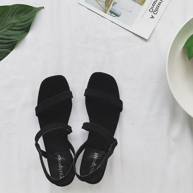 2017新款复古韩国风绒面方跟简约露趾夏季女士凉鞋休闲鞋气质