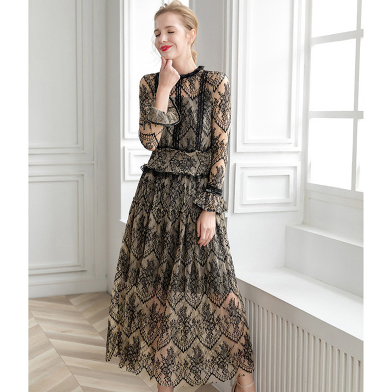 Flower color long sleeve Za floral dress 2020 new summer mesh lace splicing waist shows thin temperament long style