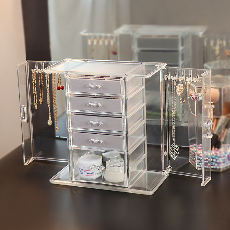 Jewelry storage box multi-layer Earrings Necklace storage large capacity flannelette ring jewelry box household transparent dust-proof