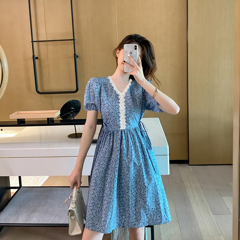 法式碎花甜美初恋收腰显瘦气质小个子短款连衣裙子2020年夏天新款