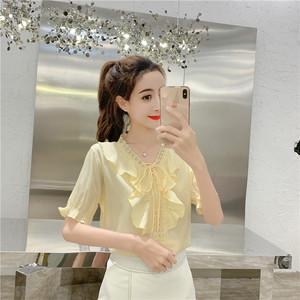 实拍2019夏装新款短袖雪纺衫韩版宽松蕾丝花边甜美系带打底上衣