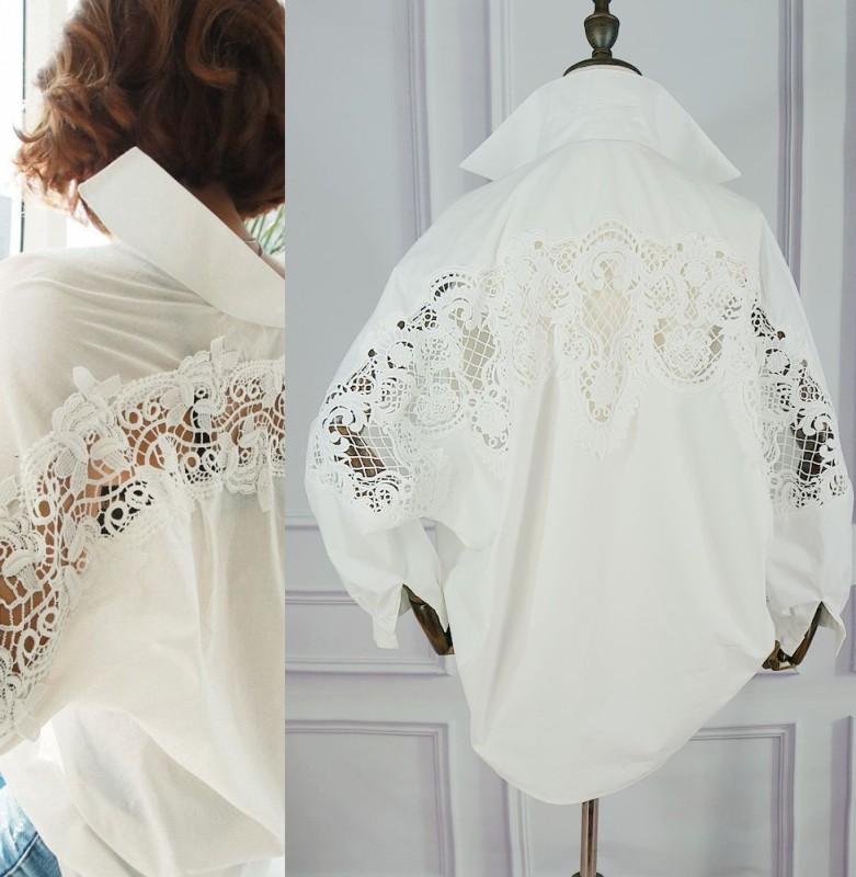 Ou Han chic womens white shirt loose bat Size Sexy open back lace stitching elegant temperament