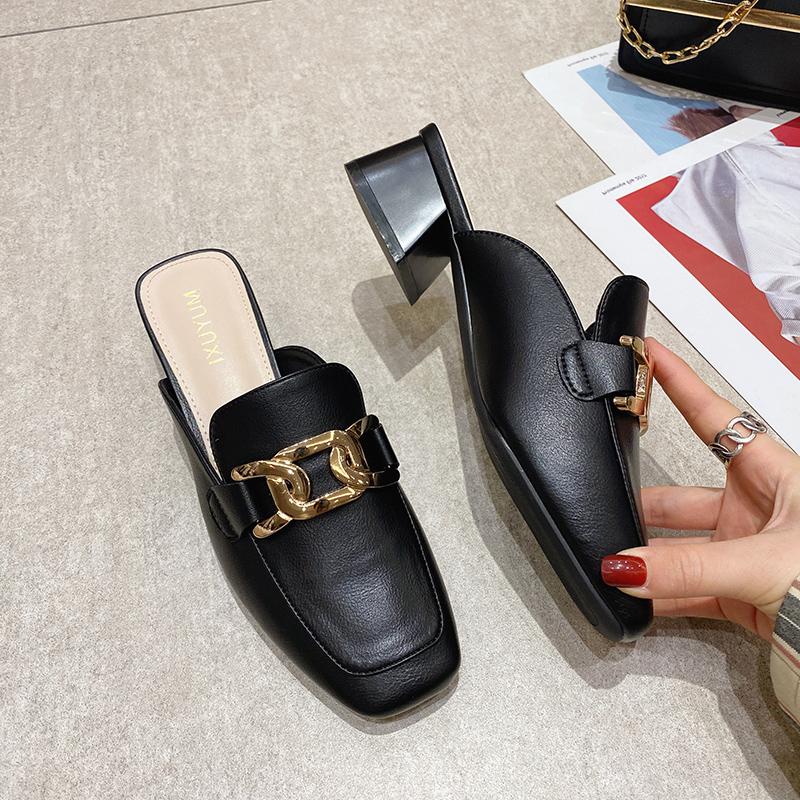包头半拖鞋女外穿粗跟穆勒鞋2021春季百搭韩版时尚方头中跟一字拖