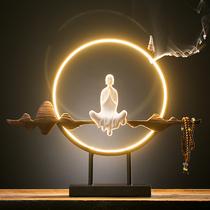 新中式禅意led灯圈白瓷摆件客厅创意倒流香装饰玄关家居办公会所