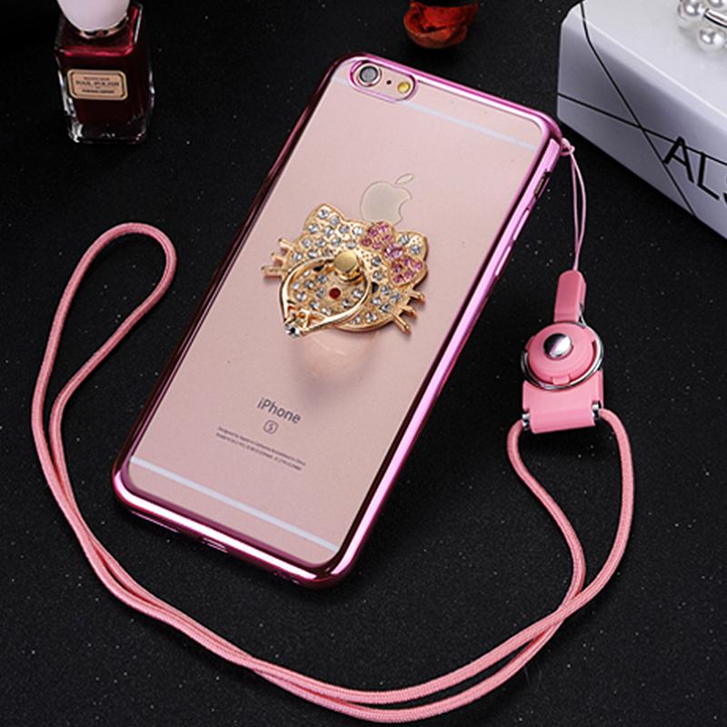 蘋果6手機殼iPhone6s Plus矽膠套支架女潮玫瑰金防摔透明軟膠掛繩