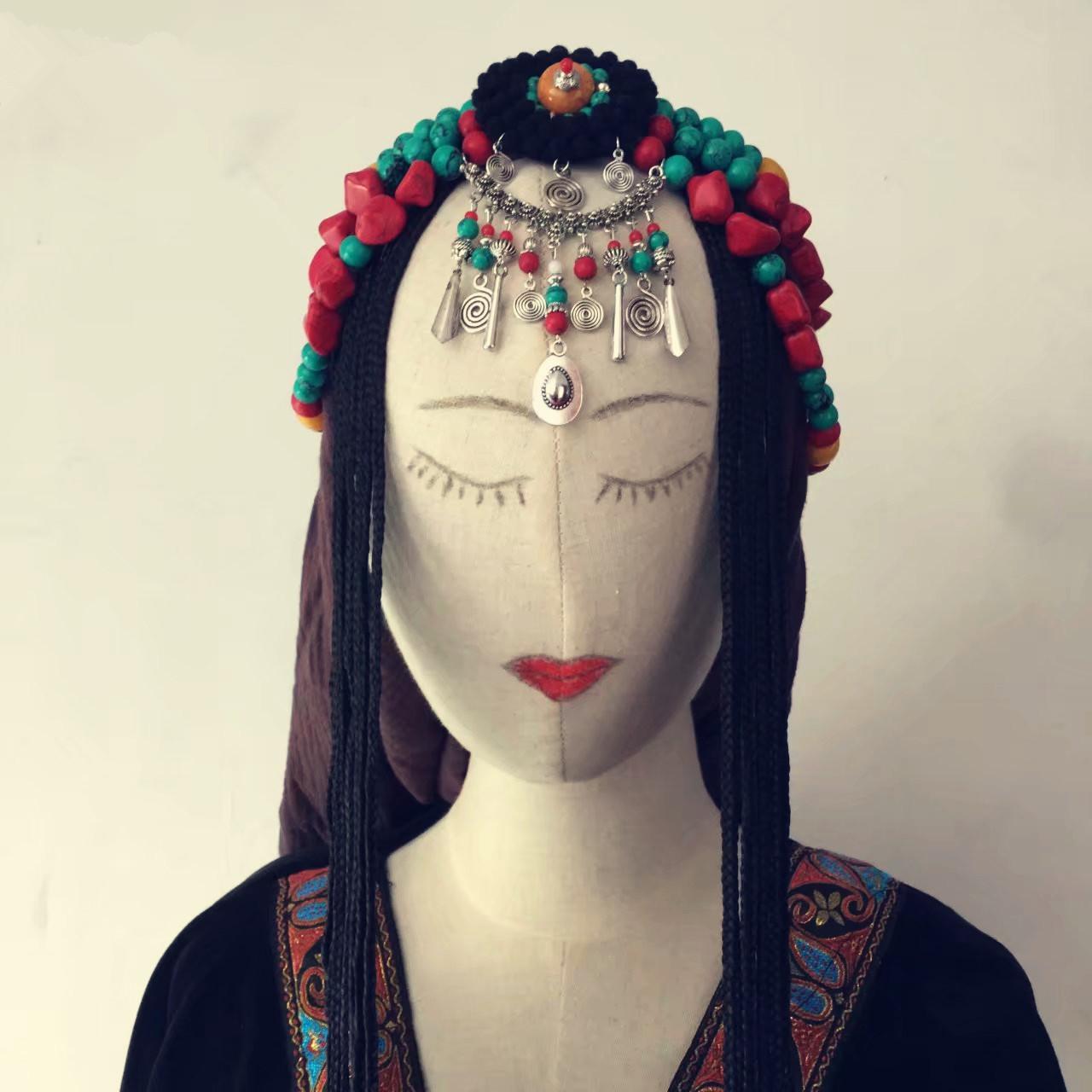 Тибетские монгольские танцевальные аксессуары для волос для тиары коллекция этнических танцев свадебное Скорпион с париком копия Бирюзовые аксессуары для пчелиного воска