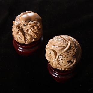 桃木精雕龙凤双球手球桃木手把件实木手球礼品礼物桃木龙凤手把件