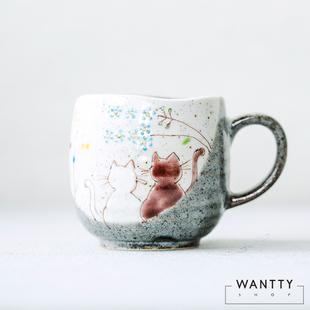 現貨 日本製九穀燒 陶瓷馬克杯情侶貓咪水杯咖啡杯日式復古茶杯禮