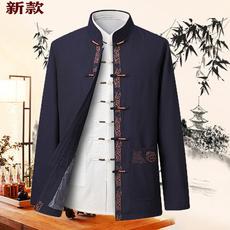 夹克唐装男套装中老年中国风老人衣服爷爷秋冬装中年爸爸棉衣外套