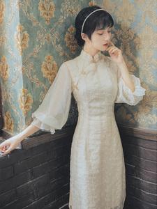 小清新复古改良旗袍开叉连衣裙少女2020修身显瘦气质刺绣
