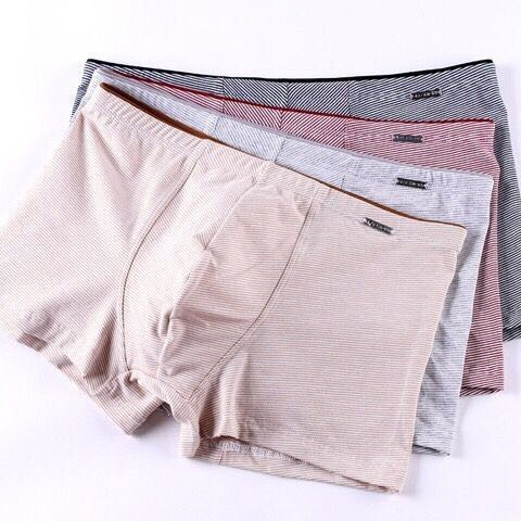3-pack simple striped young mens underwear pure cotton comfortable and breathable boxer pants personality middle waist Boxer Shorts