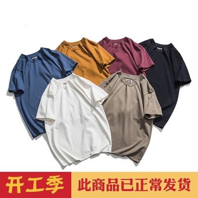 阿美咔叽重磅320g纯棉素色复古超厚实圆领纯色短袖T恤白TEE打底衫