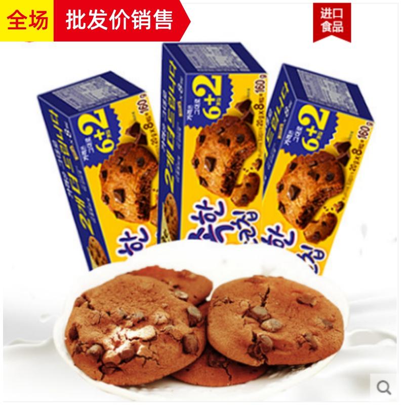 特价韩国进口食品 好丽友巧克力软曲奇饼干160g盒 休闲零食糕点