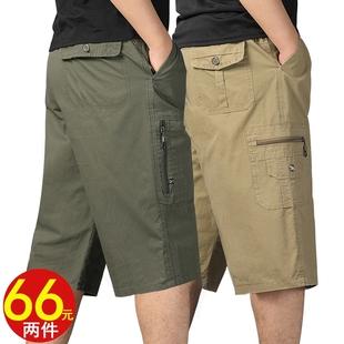 夏季中年男士七分短褲寬鬆休閒純棉爸爸裝老年父親大碼鬆緊腰中褲