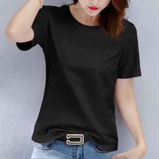 白色T恤女短袖2019新款夏裝寬鬆純黑色純棉體恤半袖上衣短款韓版